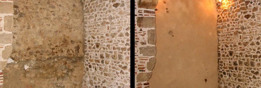 mur de pierre enduit argilus